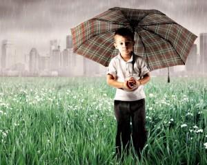 boy, umbrella and confidence